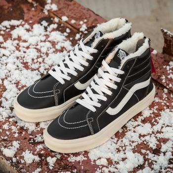 Vans Sk8 Hi Leather Winter Black (c мехом)