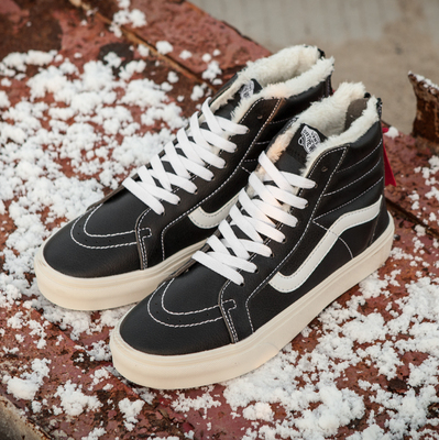 Vans Sk8 Hi Leather Winter Black (c мехом)