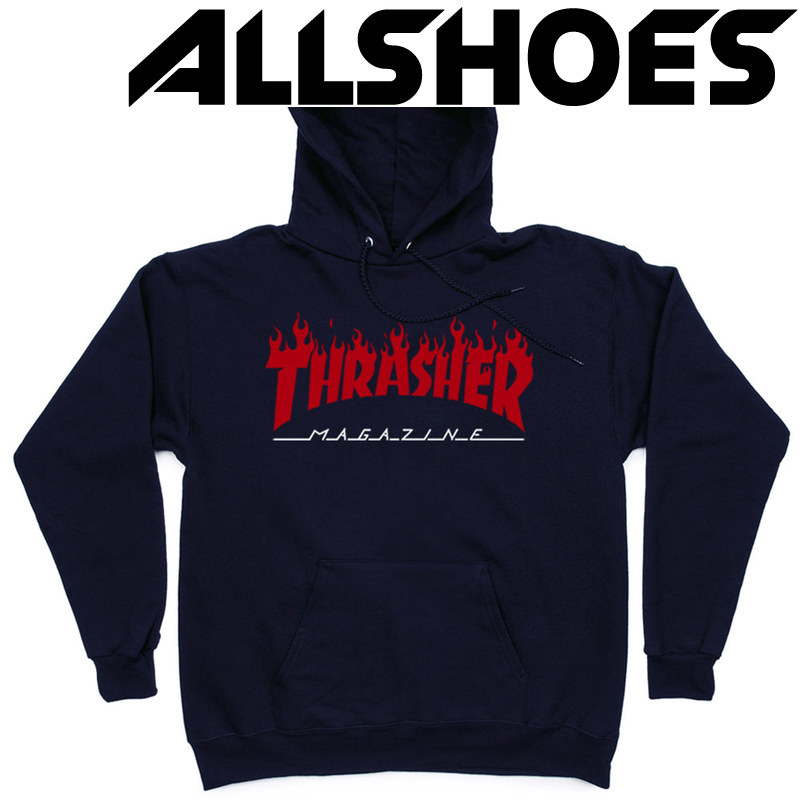 Толстовка Thrasher Fire Magazine Red Dark Blue Hood