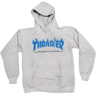 Толстовка Thrasher Fire Magazine Blue Gray Hood
