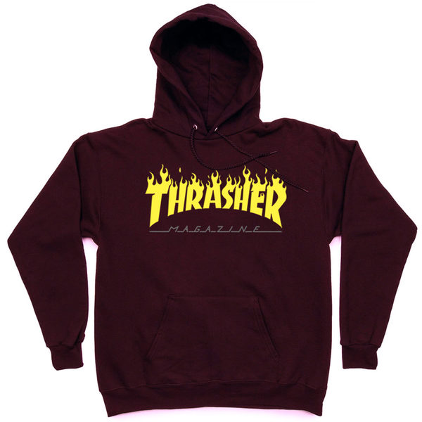 Толстовка Thrasher Fire Magazine Yellow Vinous Hood