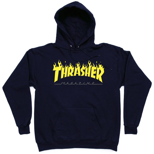 Толстовка Thrasher Fire Magazine Yellow Dark Blue Hood