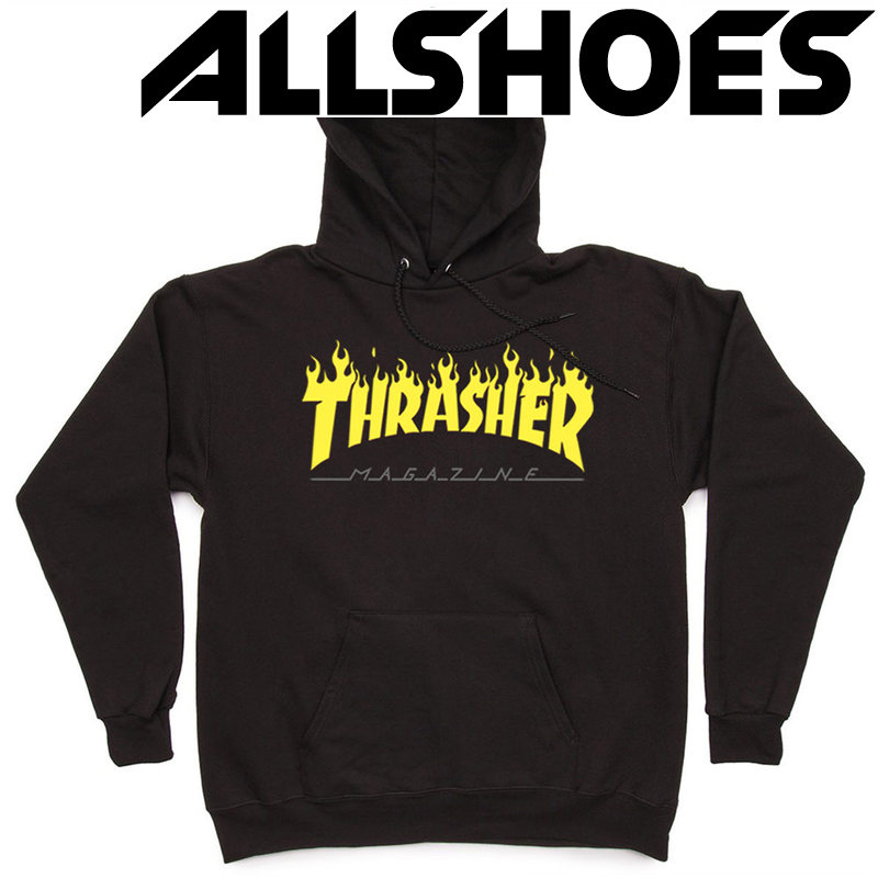 Толстовка Thrasher Fire Magazine Yellow Black Hood
