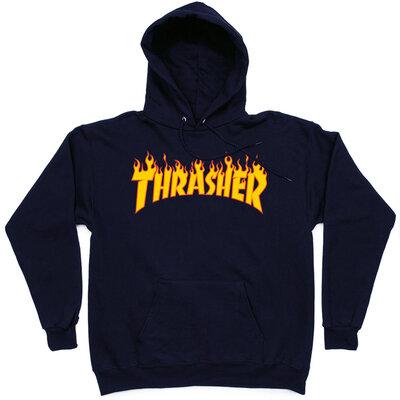 Толстовка Thrasher Dark Blue Fire Hood