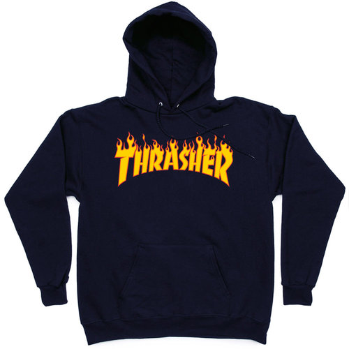 Толстовка Thrasher Dark Blue Fire Hood