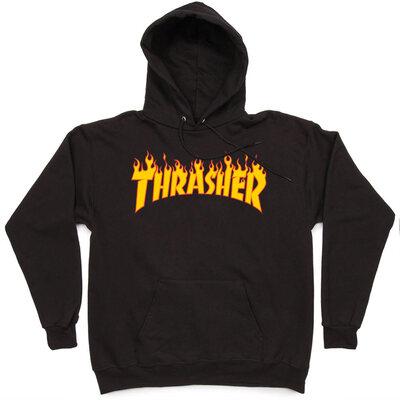 Толстовка Thrasher Black Fire Hood