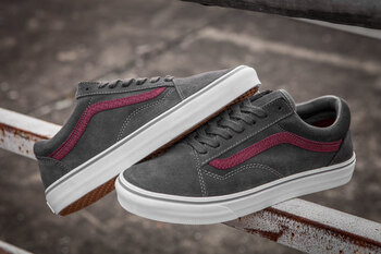 Vans Old Skool Dark Grey Suede Snake Maroon