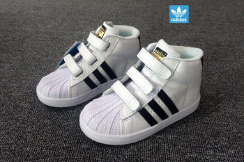 Детские кроссовки Adidas SuperStar High White Black Gold