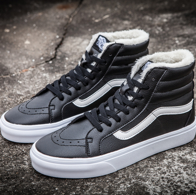 Vans Sk8 Hi Leather Black non Zip (с мехом)