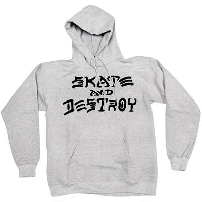 Толстовка Thrasher Skate And Destroy Hood Gray