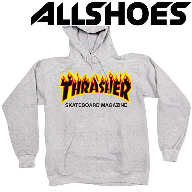 Толстовка Thrasher Gray Fire Hood