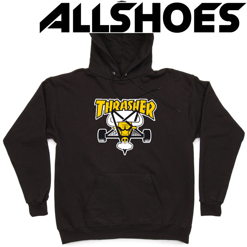 Толстовка Thrasher Black Yellow Bull Hood