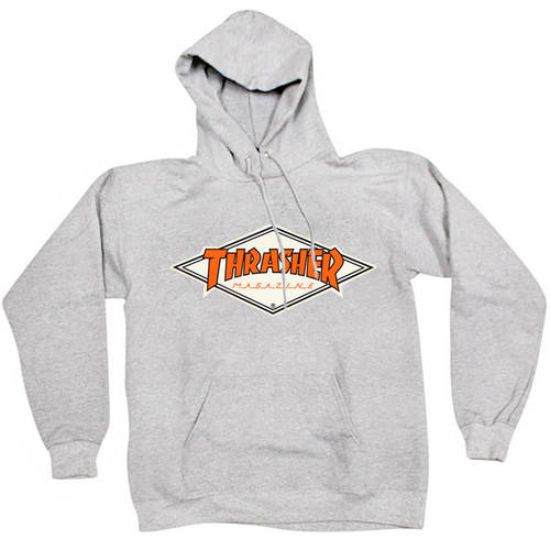 Толстовка Thrasher with Orange Rhombus Hood Gray