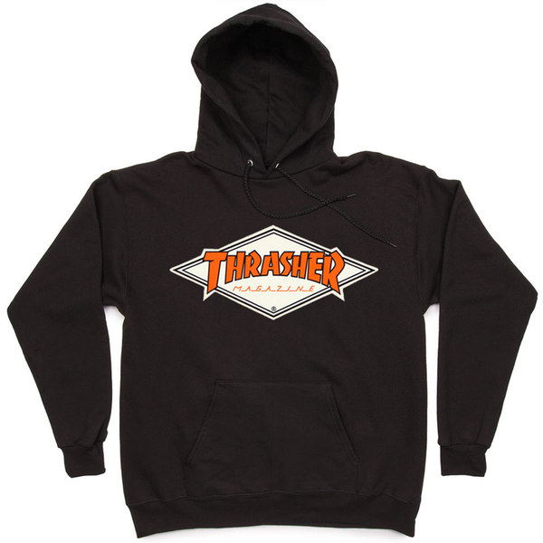 Толстовка Thrasher with Orange Rhombus Hood Black