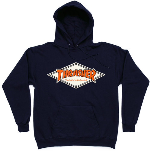 Толстовка Thrasher with Orange Rhombus Hood Dark Blue