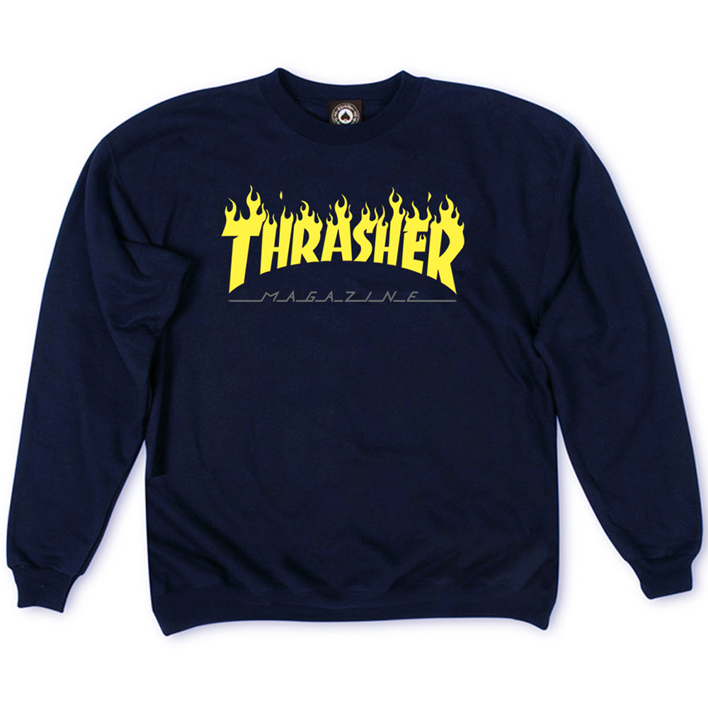 Толстовка Dark Blue Thrasher Fire Magazine Yellow