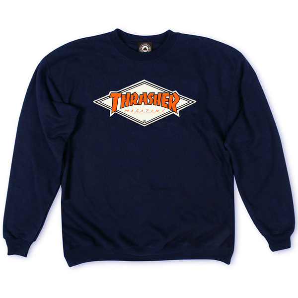 Толстовка Thrasher Magazine Dark Blue with Orange Rhombus