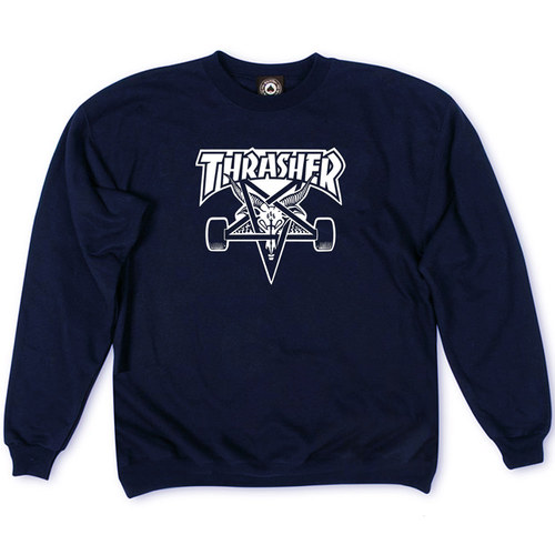 Толстовка Dark Blue Thrasher White Devil 666 Classic