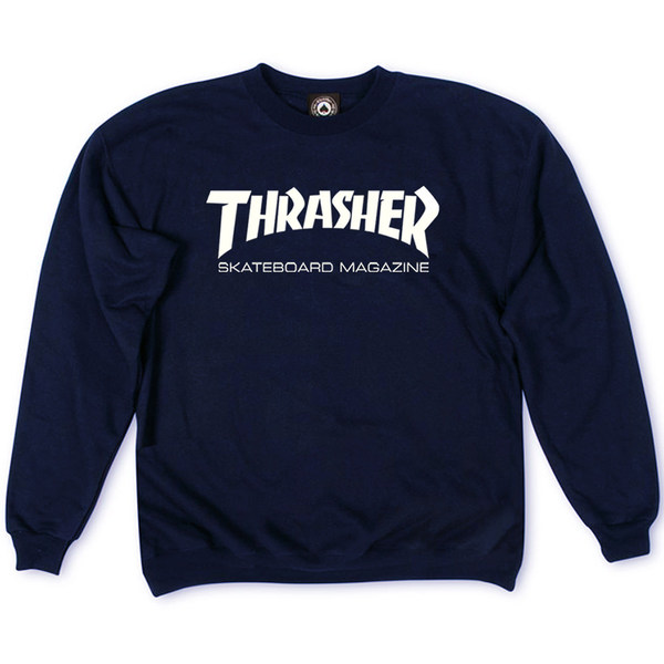 Толстовка Thrasher Skateboard Magazine Dark Blue White Classic Logo