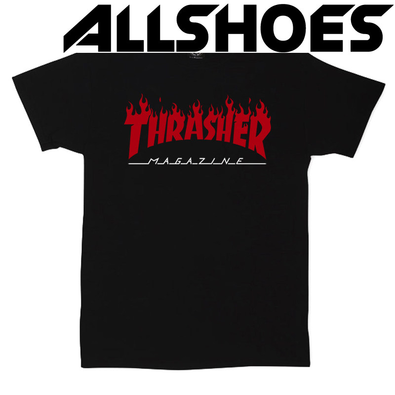 Футболка Thrasher Magazine Black with Red Flame