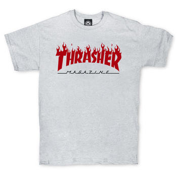 Футболка Thrasher Magazine Grey with Red Flame