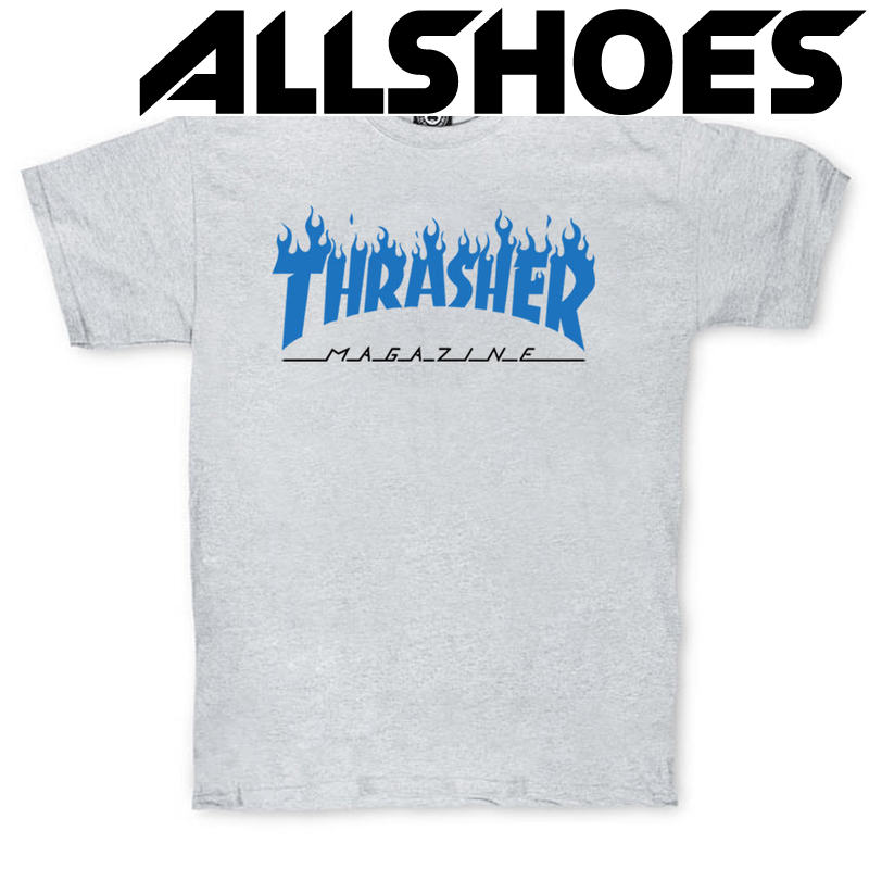 Футболка Thrasher Magazine Grey with Blue Flame