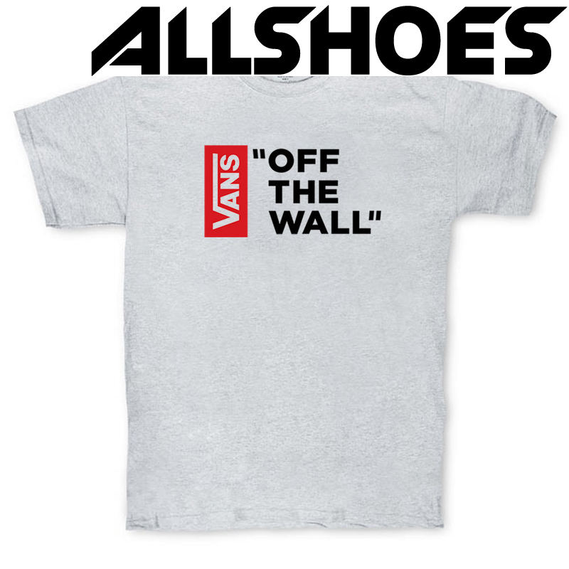 Футболка Gray Vans Off The Wall Black Red Vertical