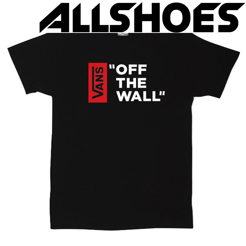 Футболка Black Vans Off The Wall White Red Vertical