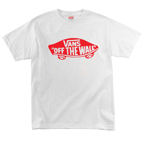 Футболка White Vans Off The Wall Skateboard Classic Red